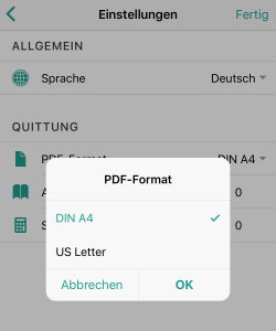Kann ich das PDF Format einstellen?
