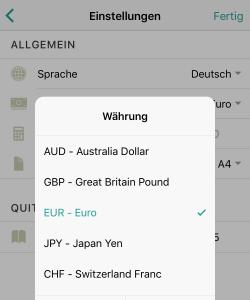 Kann ich die Währung ändern?