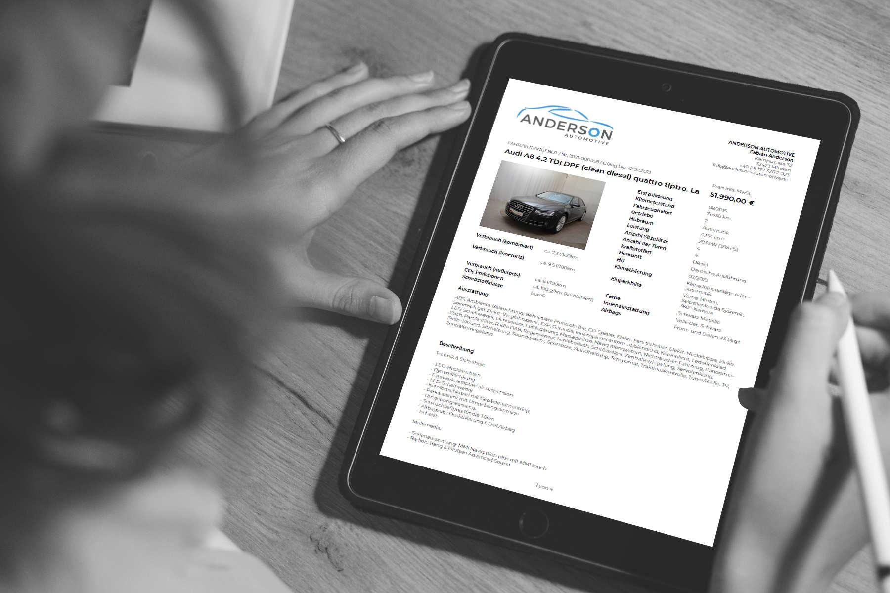 Fahrzeugangebote per App erstellen